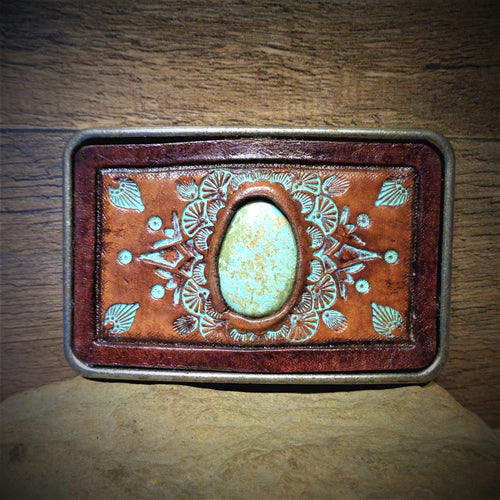 #8 Turquoise and Tooled Leather Belt Buckle