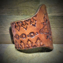 Load image into Gallery viewer, Hand Tooled Mandala Leather Cuff