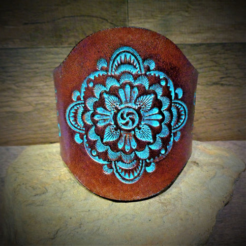 Hand Tooled Turquoise Mandala Leather Cuff