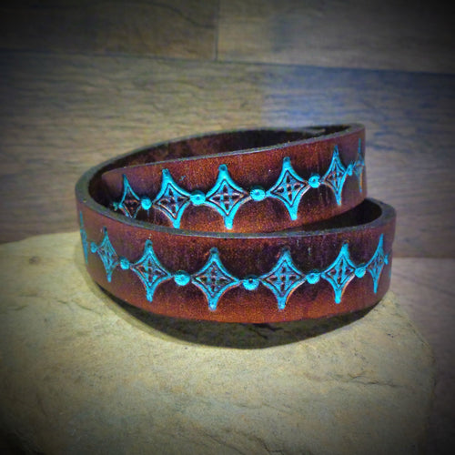 Hand Tooled Turquoise Diamond Leather Wrap Cuff