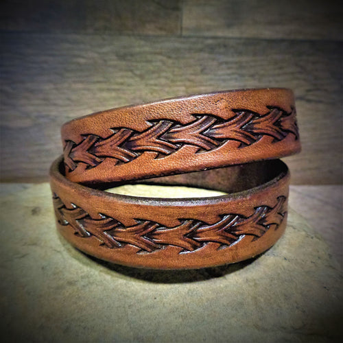 Hand Tooled Brown Leather Wrap Cuff
