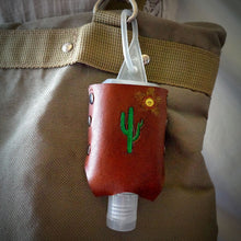 Load image into Gallery viewer, Saguro Cactus Leather Hand Sanitizer Holder