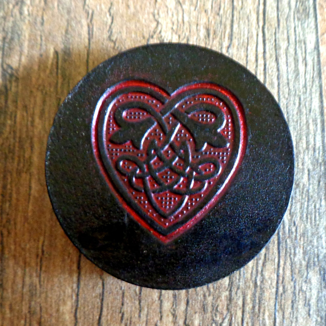 Hand Tooled Leather Red Celtic Heart Phone Grip