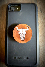 Load image into Gallery viewer, Hand Tooled Leather Cow Skull Phone Grip