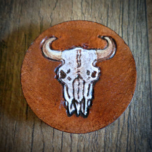 Hand Tooled Leather Cow Skull Phone Grip