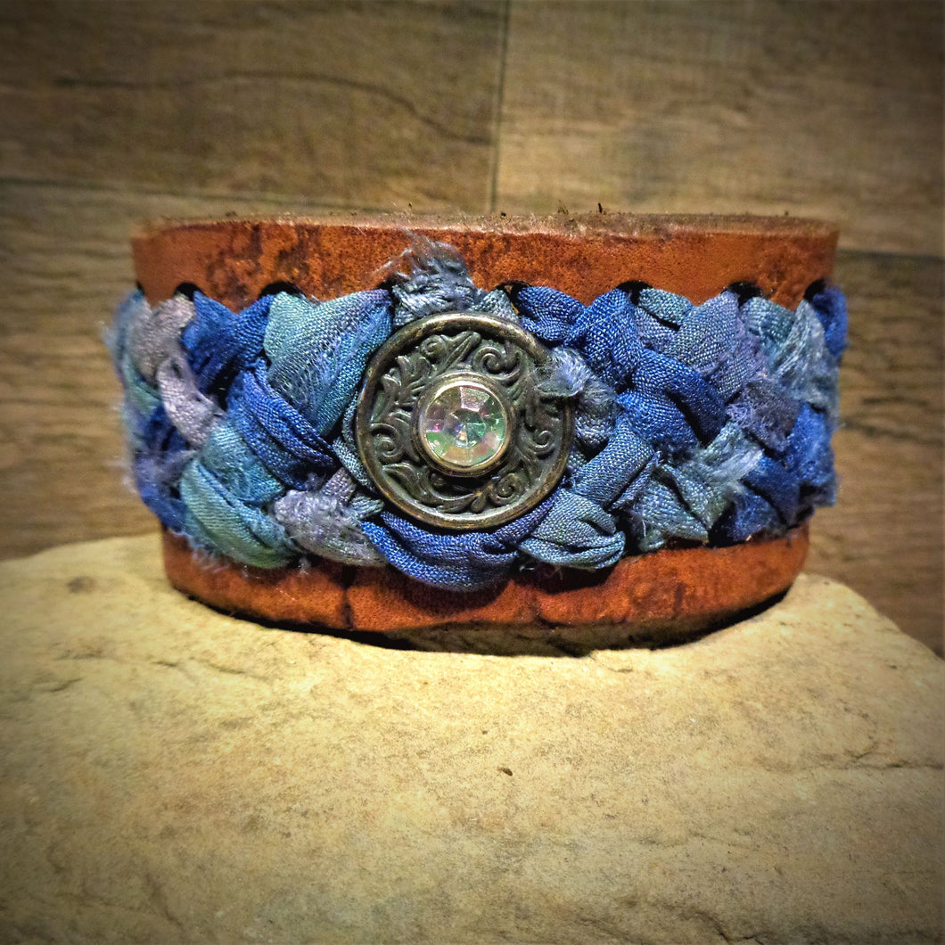 Distressed Light Blue and Lavender Sari Ribbon Braided Leather Cuff with Silver an Iridescent Rhinestone Concho