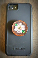 Load image into Gallery viewer, Hand Tooled Leather Dogwood Blossom Phone Grip