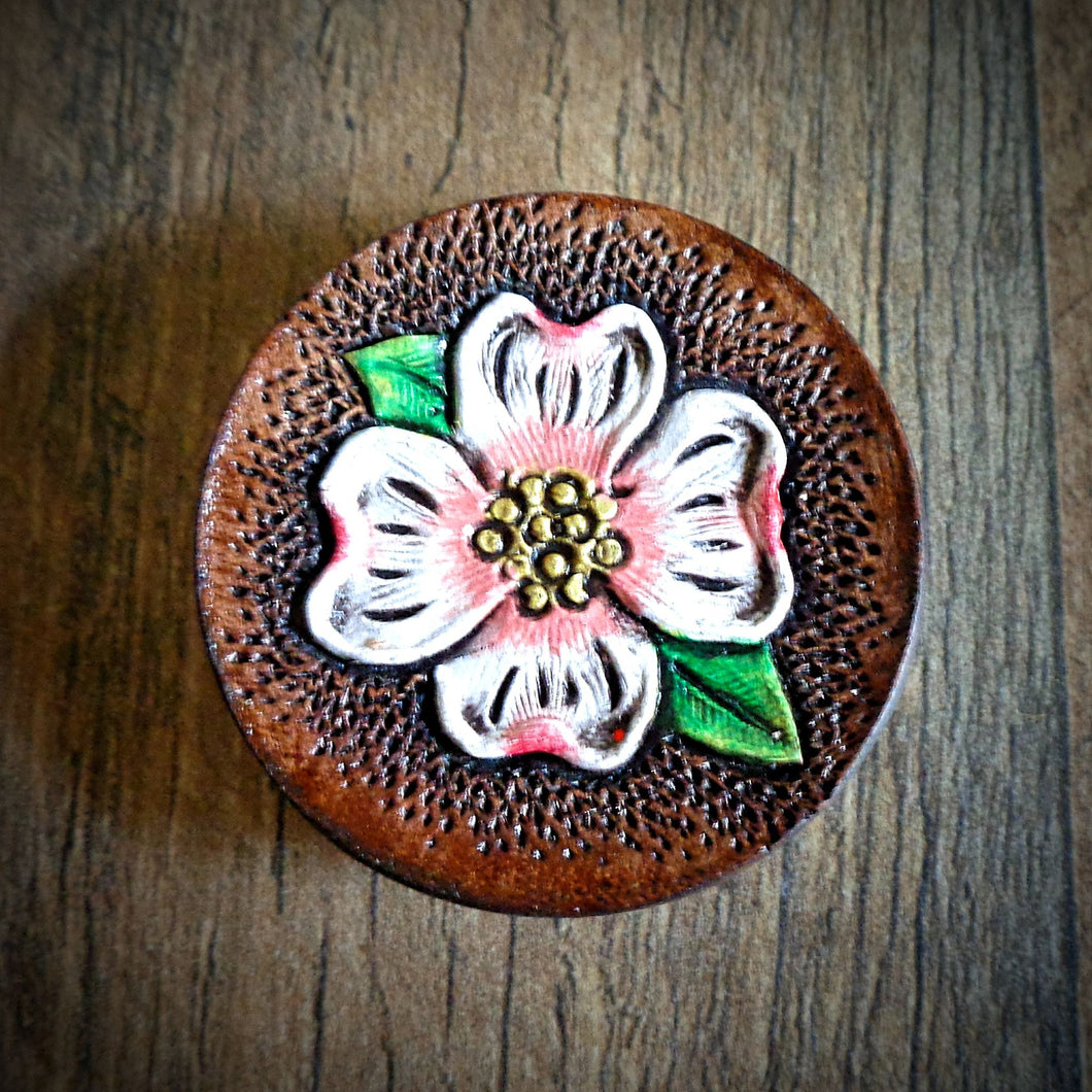 Hand Tooled Leather Dogwood Blossom Phone Grip