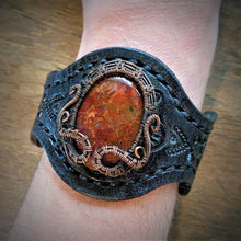 Load image into Gallery viewer, Copper Woven Red Plume Agate Tooled Leather Cuff