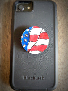 Hand Tooled Leather American Flag Phone Grip