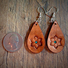 Load image into Gallery viewer, Hand Tooled Leather Floral Petite Tear Drop Earrings