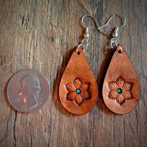 Hand Tooled Leather Floral Petite Tear Drop Earrings