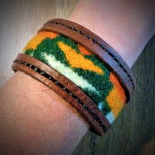 Load image into Gallery viewer, Brown Leather and Forest Green Pendleton Wool Inlay Cuff