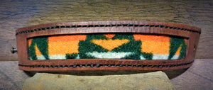 Brown Leather and Forest Green Pendleton Wool Inlay Cuff