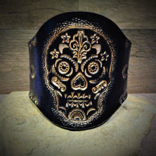 Load image into Gallery viewer, Hand Tooled Gold Metallic Sugar Skull Leather Cuff