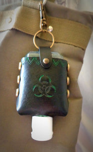Green Biohazard Leather Hand Sanitizer Case