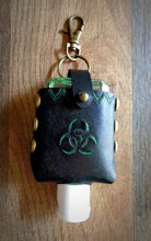 Load image into Gallery viewer, Green Biohazard Leather Hand Sanitizer Case