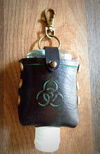 Load image into Gallery viewer, Green Biohazard Leather Hand Sanitzer Case