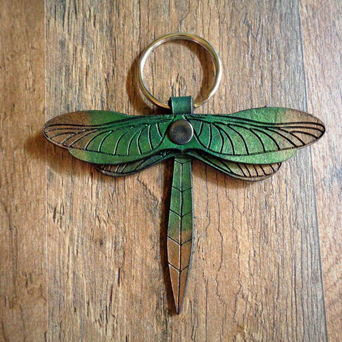 Green and Bronze Leather Dragonfly Key Fob