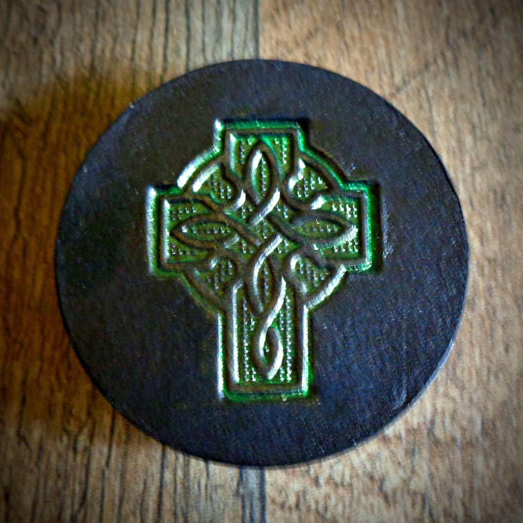 Hand Tooled Leather Green Celtic Cross Phone Grip