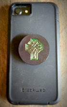 Load image into Gallery viewer, Hand Tooled Leather Green Celtic Cross Phone Grip