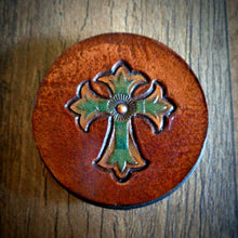 Load image into Gallery viewer, Hand Tooled Leather Cross Phone Grip