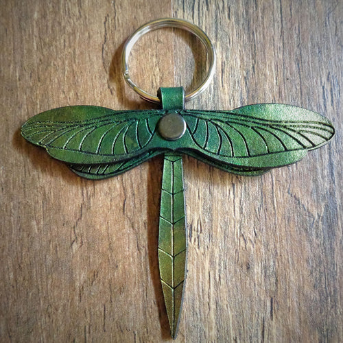 Green and Gold Leather Dragonfly Key Fob