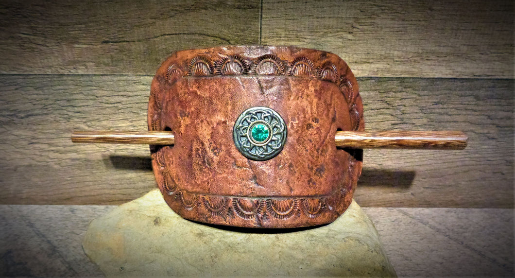 Distressed  Tooled Leather Stick Barrette with Silver and Green Rhinestone Concho