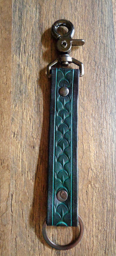 Green Scale Leather Key Clip