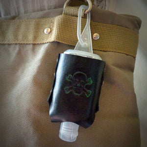 Green Skull and Crossbones Leather Hand Sanitizer Holder