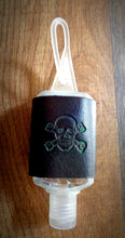 Load image into Gallery viewer, Green Skull and Crossbones Leather Hand Sanitizer Holder