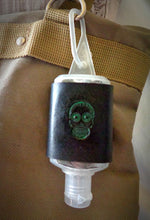 Load image into Gallery viewer, Green Sugar Skull Leather Hand Sanitizer Holder
