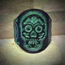 Load image into Gallery viewer, Hand Tooled Green Metallic Sugar Skull Cuff