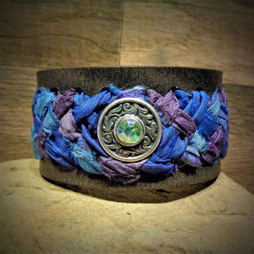 Blue and Mauve Sari Ribbon Braided Leather Cuff with Silver and Iridescent Rhinestone Concho