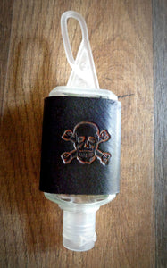 Orange Skull and Crossbones Leather Hand Sanitizer Holder