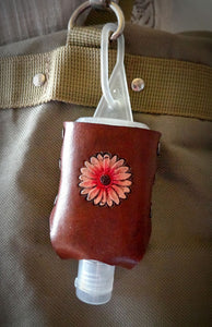 Pink Daisy Leather Hand Sanitizer Holder
