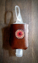 Load image into Gallery viewer, Pink Daisy Leather Hand Sanitizer Holder