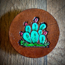 Load image into Gallery viewer, Hand Tooled Leather Prickly Pear Cactus Phone Grip