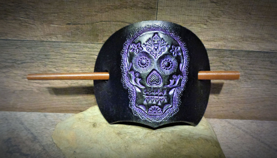 Black and Purple Sugar Skull Leather Stick Barrette