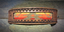 Load image into Gallery viewer, Brown Hand Tooled Leather and Red, Orange, Yellow Pendleton Wool Inlay Cuff