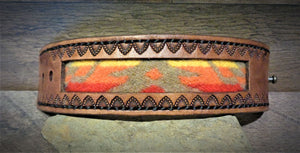 Brown Hand Tooled Leather and Red, Orange, Yellow Pendleton Wool Inlay Cuff