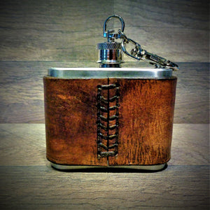 Raleigh Leather Wrapped 2oz Stainless Steel Clip Flask