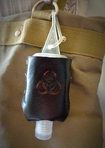 Red Biohazard Leather Hand Sanitizer Holder