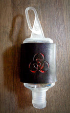 Load image into Gallery viewer, Red Biohazard Leather Hand Sanitizer Holder