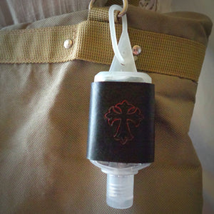 Red Cross Leather Hand Sanitizer Holder
