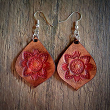 Load image into Gallery viewer, Hand Tooled Leather Red Mandala Tear Drop Earrings