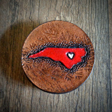 Load image into Gallery viewer, Hand Tooled Leather Red North Carolina Phone Grip