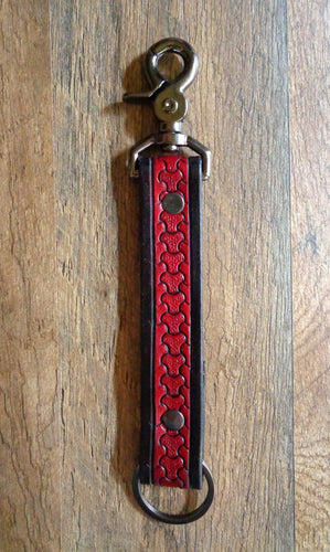 Red Scale Leather Key Clip