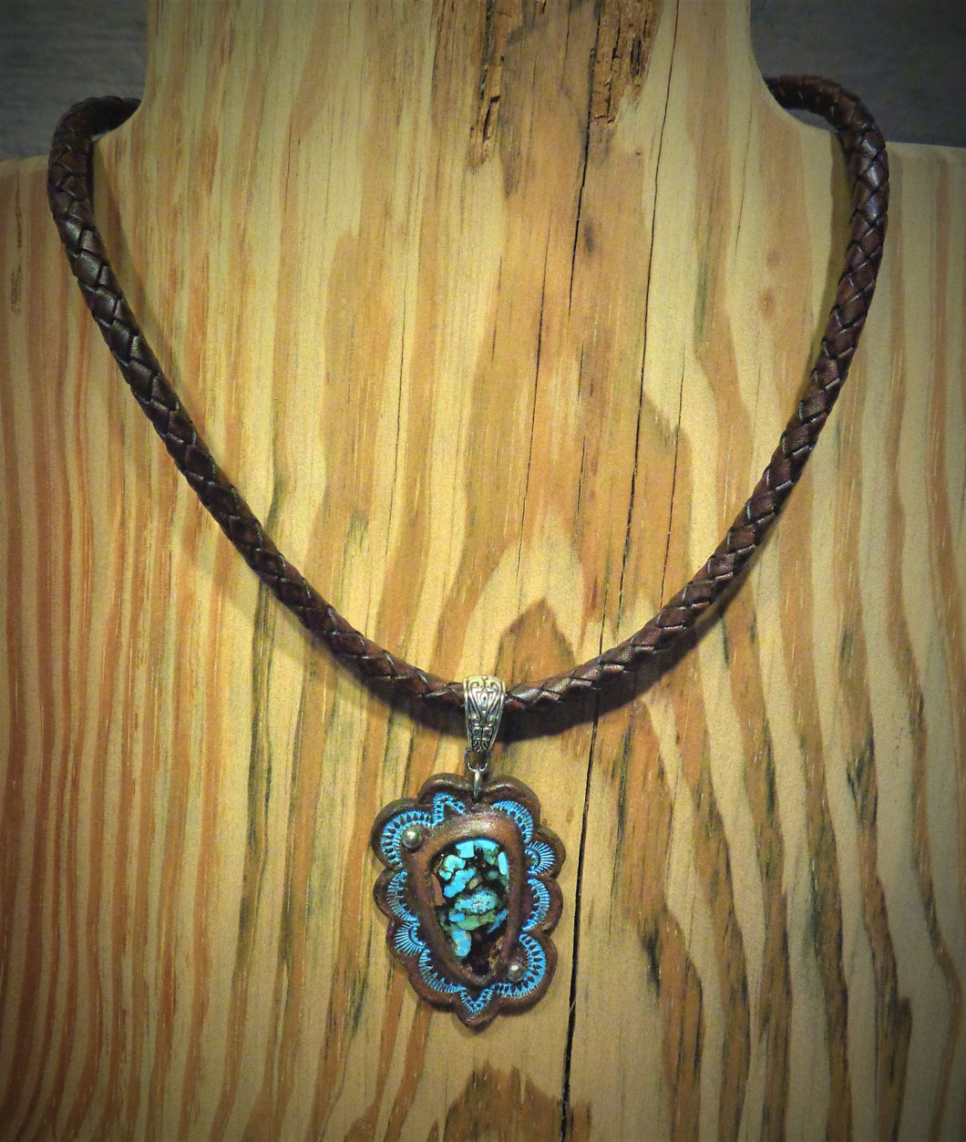 Hand Tooled Leather Pendant with Douglas Fir and Globe Turquoise Inlay