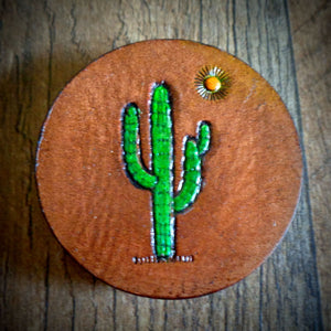 Hand Tooled Leather Saguaro Cactus Phone Grip